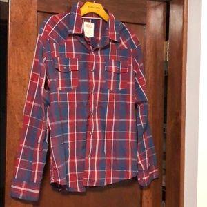 Levi's men's snap down plaid medium shirt